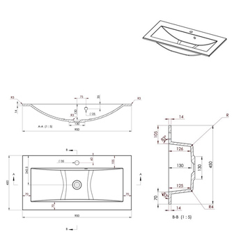 YUKON Gussmarmor-Waschtisch 90x45cm, weiß