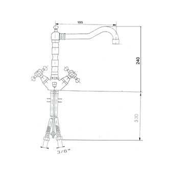 ANTEA Küchenarmatur mit Retro-Einlauf, 240mm, Roségold