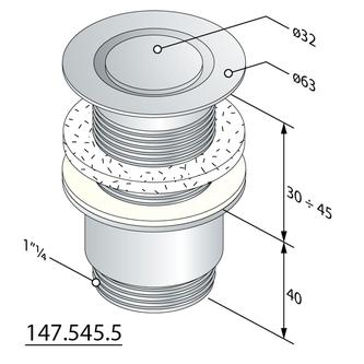 """Nicht verschließbare Ablaufgarnitur 5/4"""", H.30-45mm, Design Stopfen, Chrom"""