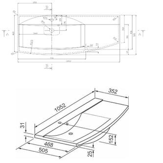 ARAS Gussmarmor-Waschtisch 105,2x50,5cm, Ablagefläche rechts, weiß