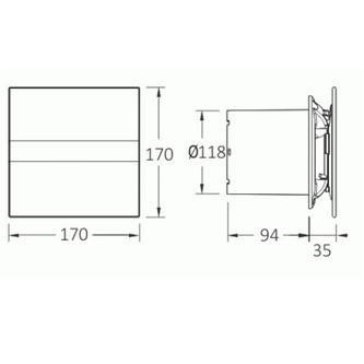 E-120 GT Axial-Badlüfter mit Zeitschaltuhr, 15W, Rohrleitung 120mm, weiß