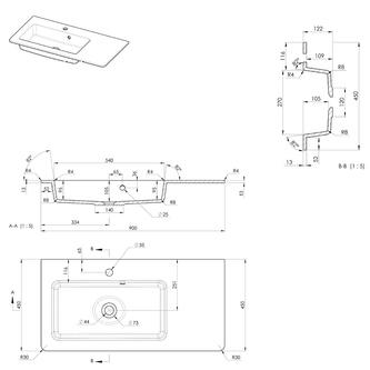 GREDA Gussmarmor-Waschtisch 90x45cm, weiß