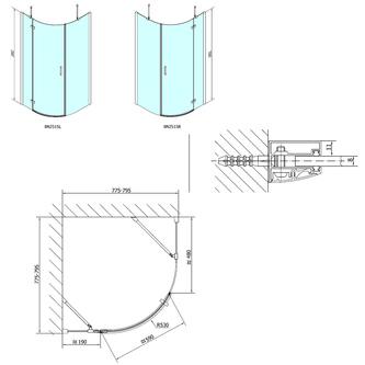 VITRA LINE Duschabtrennung Viertelkreis 800x800mm, R550, rechts, Klarglas