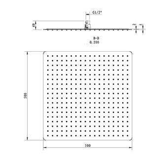 SLIM Kopfbrause, Quadrat, 500x500mm, polierter Edelstahl