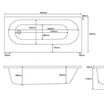 Sylvi Badewanne 167,5x76,5cm mit Einbauschrank und Duschkabine, Rechts
