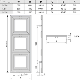 LIBRA TRIAL Heizkörper 600x1620mm, 909 W, Anthrazit