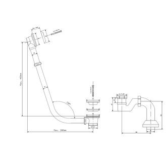 MODEL 12R Ablaufgarnitur mit Klick-Klack, Siphon, Chrom