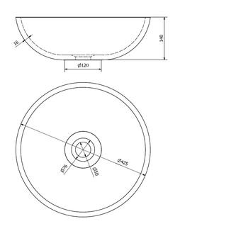 ATTILA Waschbecken Durchmesser 42,5cm, Keramik, Braun