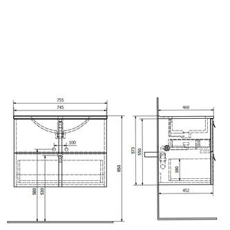 MITRA Unterschrank 75,5x55x46cm, Anthrazit