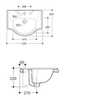RETRO Keramik-Waschtisch 62x45,5cm, zum Einbauen
