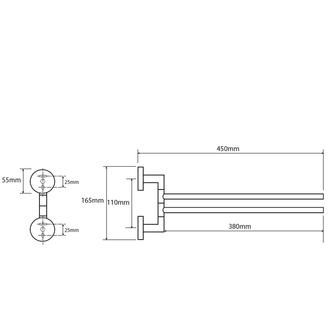 X-ROUND  2-Fach Handtuchhalter drehbar 420mm, Chrom