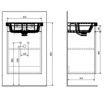 ELLA Unterschrank 46,5x65x38,5cm, 1x Tür, weiß