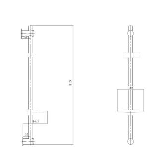 Duschstange mit Seifenschale, 810mm, Chrom