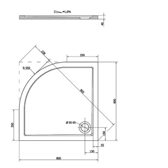 SERA Duschwanne, Viertelkreis 80x80x4cm, R550