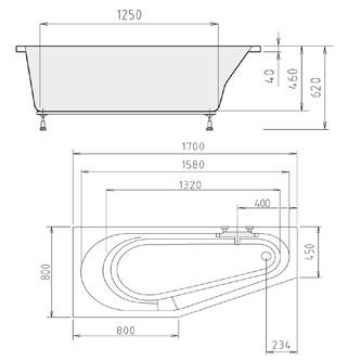 TIGRA asymmetrische Badewanne 170x80x46cm, links, weiß