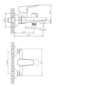 LOTTA Badewanne-Wandarmatur, Abstand 150mm, chrom