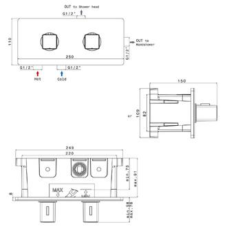 NOTOS Thermostat-Duscharmatur , 2 Wege, Chrom