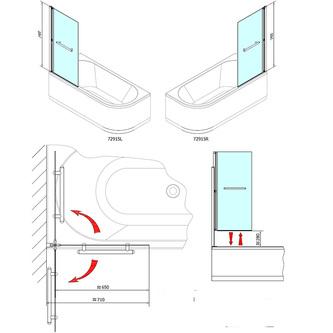 RIONI pneumatische Duschabtrennung 710 mm, Rahmen silber, Klarglas