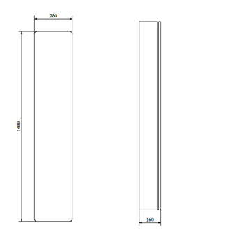 Hochschrank 28x140x16cm, links/rechts, weiß