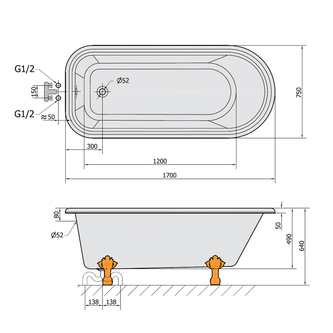 FOXTROT freistehende Badewanne 170x75x47cm, Füße Bronze