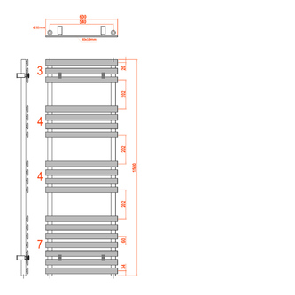 JALOUSI Heizkörper 600x1500mm, 900W, weiß