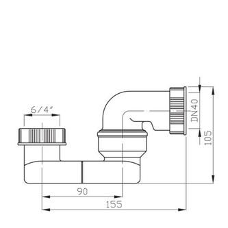 "Wannensiphon 1 1/2"" x 40/50mm, Höhe 52 mm"