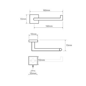 X-SQUARE Toilettenpapierhalter ohne Deckel, 180x55x70 mm, Chrom