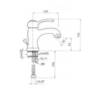 VANITY Waschtischarmatur mit Ablaufgarnitur 155mm Chrom