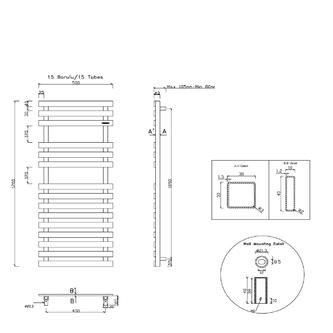 TRUVA Heizkörper 500x1200mm, 400W, gebürsteter Edelstahl
