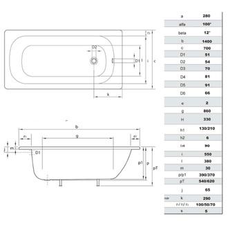 Emaille-Sitzwanne Rechteck 140x70x38cm, weiß