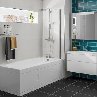 Rechteck Badewanne 167,5x76,5cm mit Einbauschrank und Duschkabine, Rechts