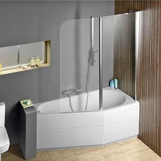 Raumspar Badewanne Tigra mit Duschzone 150x85/70cm, rechts, weiß, Komplett-Set