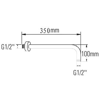 Duscharm 350mm, Chrom, L-Form