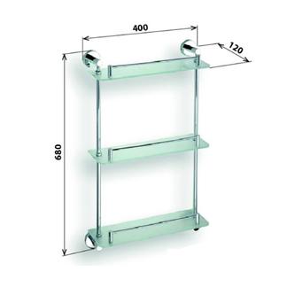 X-ROUND E Glasablage 3-Fach, mit Reling, 400x680x120mm, Chrom