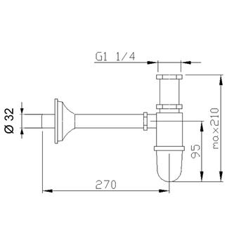 Waschtisch-Siphon 1'1/4, Abfluss 32mm, Chrom