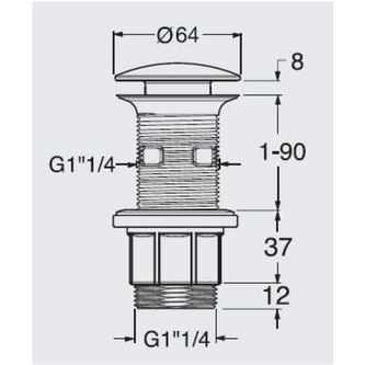 Verschließbare Ablaufgarnitur, für Waschtische mit Überlauf, H. 10-80mm, Chrom