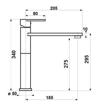 DANDY Waschtischarmatur 340mm, ohne Ablaufgarnitur, Chrom