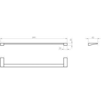 GLAMOUR Handtuchhalter 600x82mm, Chrom