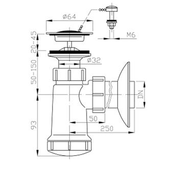 Waschtisch-Siphon, Edelstahl Auslass 5/4', mit Kette, Abfluss 40mm, Kunstsfoff