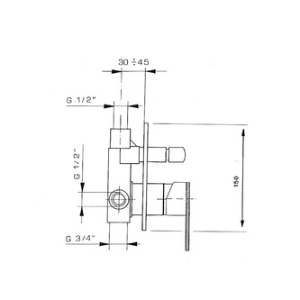 MASTERMAX Unterputz-Duscharmatur , 2 Wege, Chrom