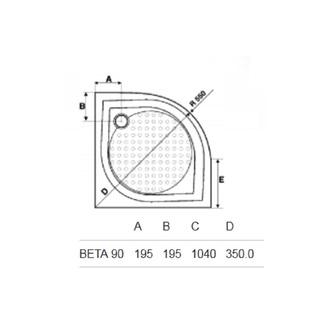 BETA 90 Duschwanne, Viertelkreis 90x90x25cm, R550