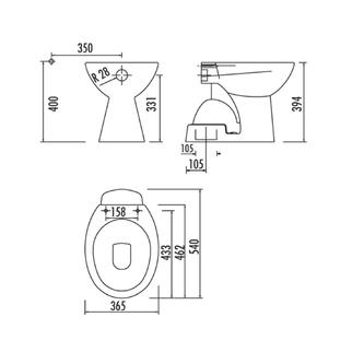 Stand WC Becken, Abgang senkrecht