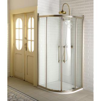 ANTIQUE Duschabtrennung Viertelkreis 900x900mm, 2-flügelige Tür, bronze
