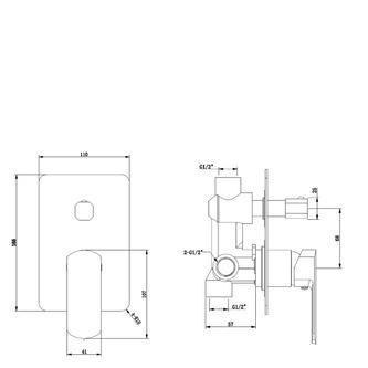 MIXONA Unterputz-Duscharmatur , 2 Wege, Chrom