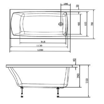 LILY 120 Rechteckwanne mit Füßen120x70x39cm, weiß