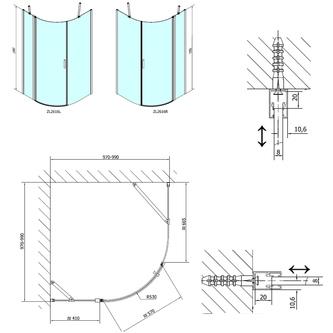 ZOOM LINE Duschabtrennung Viertelkreis 1000x1000mm, Klarglas, links