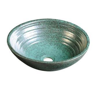 ATTILA Keramik-Waschtisch Durchmesser 46cm, grünes Kupfer