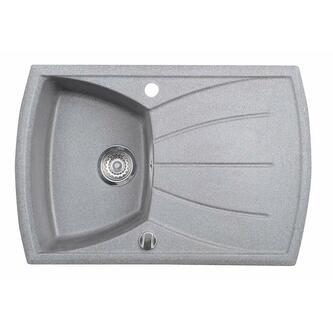 Granitspüle mit Abtropffläche 77x51 cm, grau