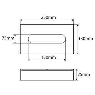 Taschentuchspender 250x130x75mm, Chrom