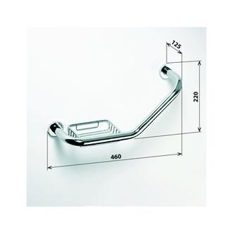Haltegriff mit Seifenschale, gebogen, 460x220mm, polierter Edelstahl